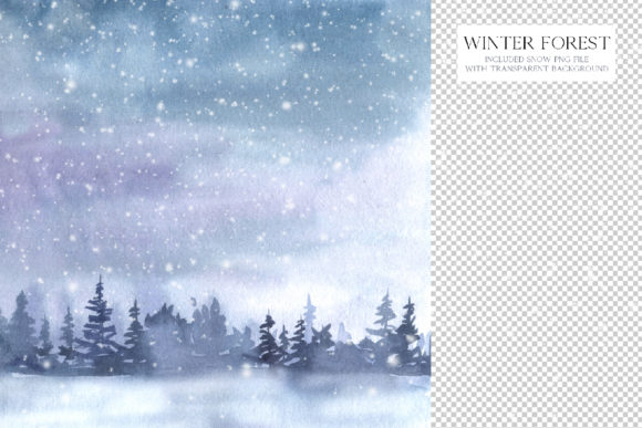 Watercolor Winter Forest Clipart Set Graphic Preview
