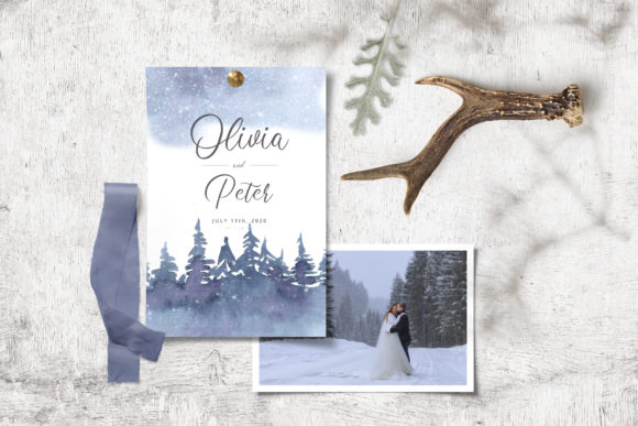Watercolor Winter Forest Clipart Set Graphic Image