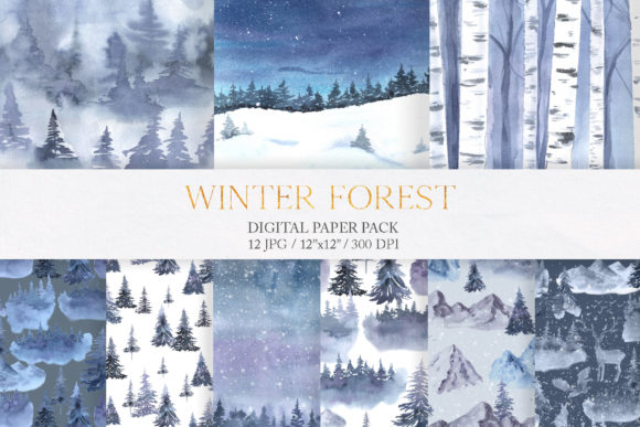 Watercolor Winter Forest Digital Papers Graphic