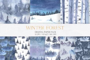 Watercolor Winter Forest Digital Papers Graphic Patterns By Larysa Zabrotskaya