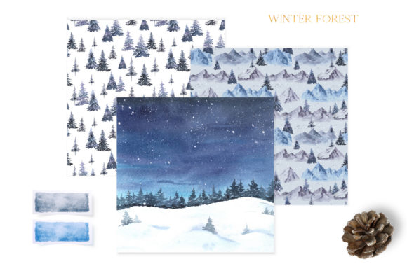 Watercolor Winter Forest Digital Papers Graphic Download