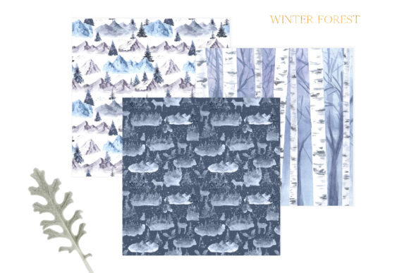 Watercolor Winter Forest Digital Papers Graphic Item