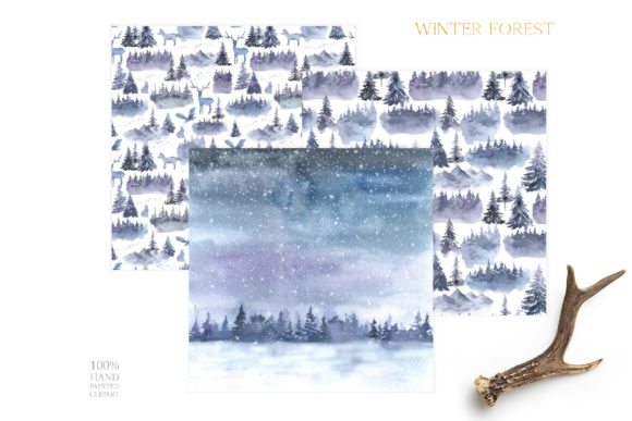 Watercolor Winter Forest Digital Papers Graphic Design