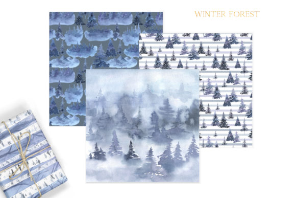 Watercolor Winter Forest Digital Papers Graphic Preview
