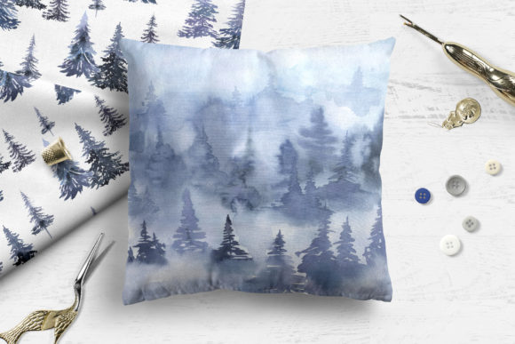 Watercolor Winter Forest Digital Papers Graphic Image