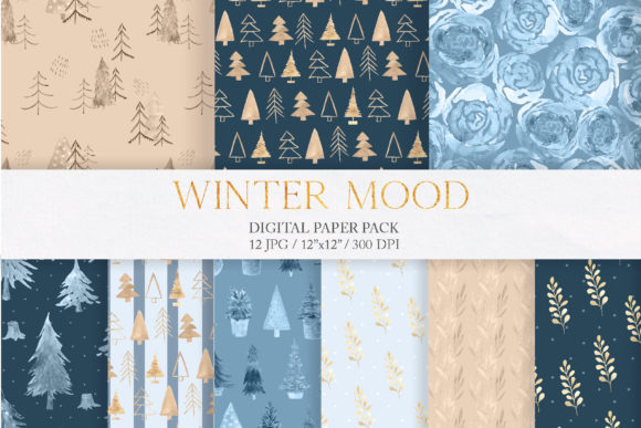 WatercolorBlue Winter Digital Paper Pack Graphic Patterns By Larysa Zabrotskaya