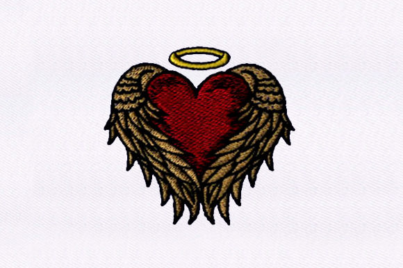 Wings Wrapped Heart Embroidery