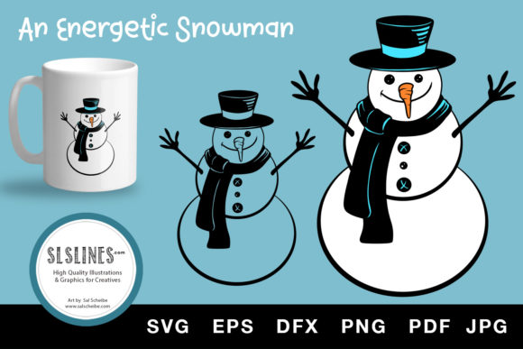 Winter Snowman with Carrot Nose SVG EPS Graphic Illustrations By SLS Lines