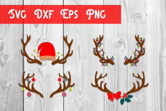 Print on Demand: Christmas Deer Antlers Svg, Christmas Graphic Print Templates By dadan_pm
