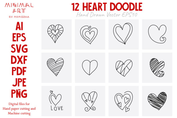Print on Demand: 12 Hearts Doodle Valentine Graphic Print Templates By Momixzaa