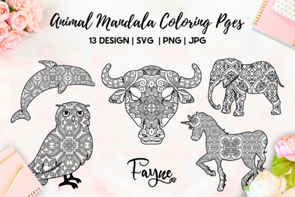 13 Animals Mandala Coloring Pages Svg Graphic By Fayne Creative Fabrica