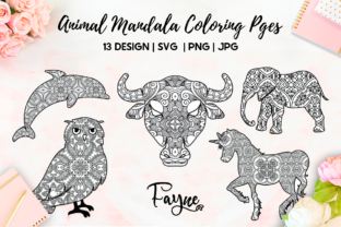 Print on Demand: 13 Animals Mandala Coloring Pages | Svg Graphic Coloring Pages & Books Adults By Fayne
