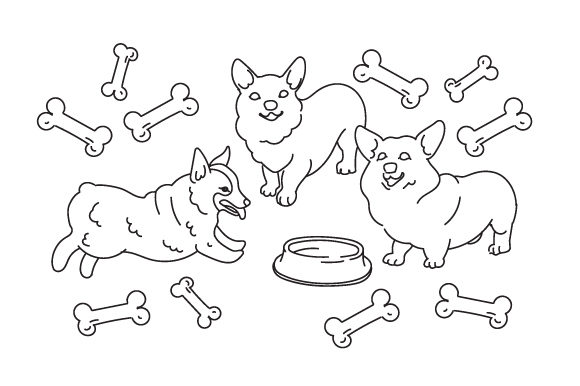 Corgi Colouring Page Cut File