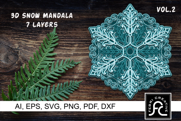 Print on Demand: 3d Layered Snow Mandala - SVG - Vol 2 Graphic 3D SVG By Febri Creative