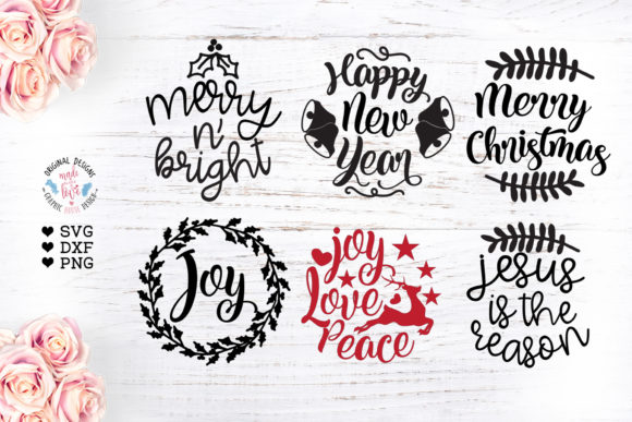 6 Round Christmas Ornaments Cut Files Graphic Crafts By GraphicHouseDesign