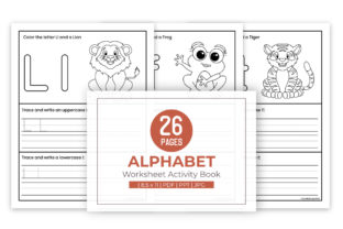 Print on Demand: A-Z Trace and Color Activities Worksheet Graphic Coloring Pages & Books Kids By doridodesign