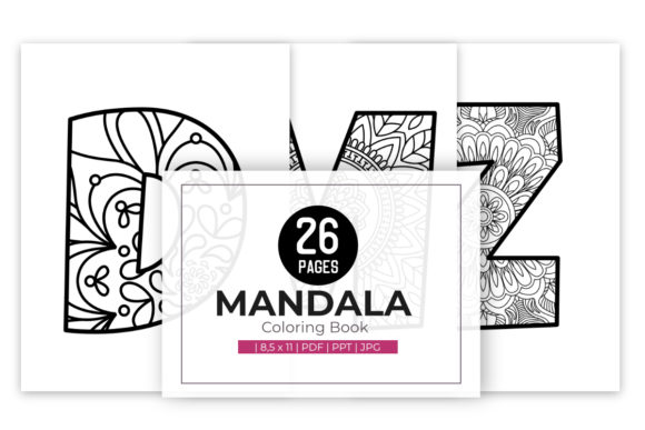 Print on Demand: Alphabet Mandala Coloring Pages for Kids Graphic Coloring Pages & Books Kids By doridodesign