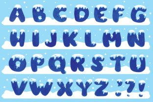 Alphabet with Snow Watercolor Vector Graphic Illustrations By Big Barn Doodles