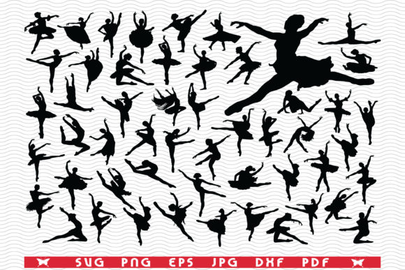 Ballerinas Black Silhouettes Digital Graphic Icons By DesignStudioRM