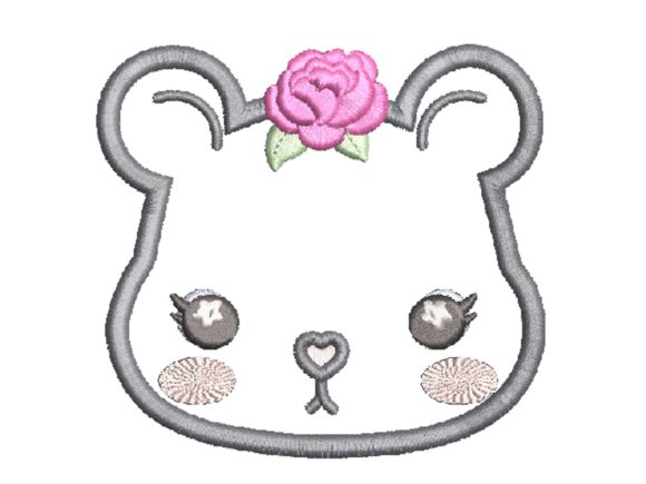 Cara's Embor Bear Flower Applique Baby Animals Embroidery Design By carasembor