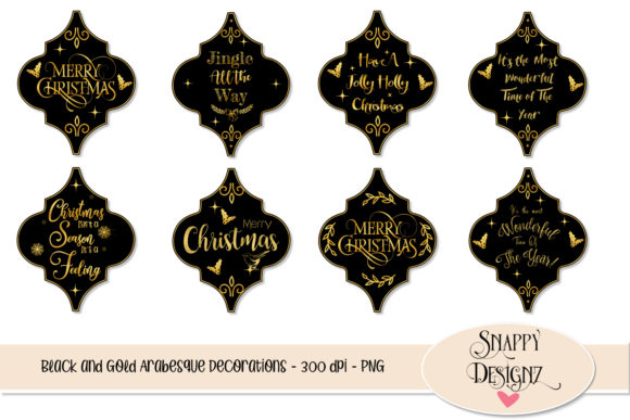 Black and Gold Christmas Decorations Graphic Objects By Snappyscrappy