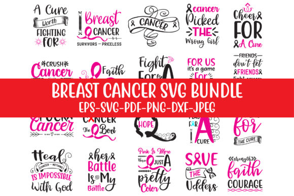 Print on Demand: Breast Cancer SVG Bundle Graphic Crafts By Design Store Bd.Net