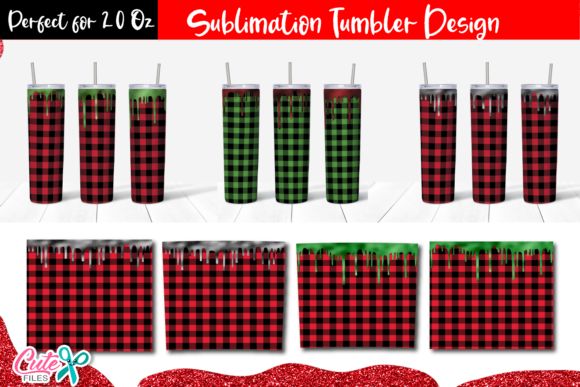 Buffalo Plaid with Drip Tumbler Sublimat Graphic Print Templates By Cute files