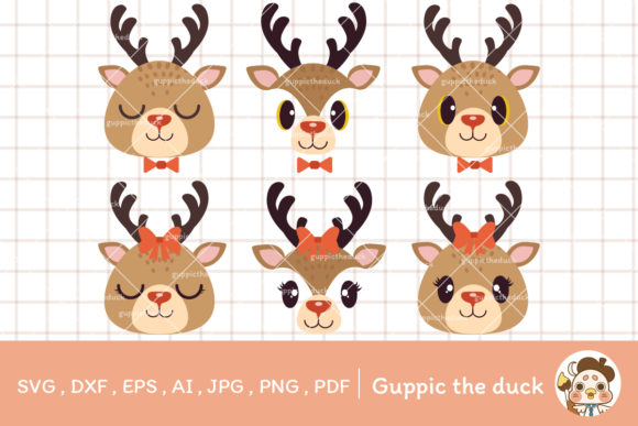 Bundle of Boy and Girl Deer Svg Clipart Graphic Illustrations By Guppic the duck