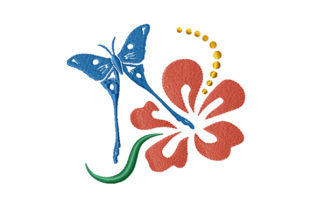 Print on Demand: Butterfly and Hibiscus Flower Bugs & Insects Embroidery Design By EmbArt