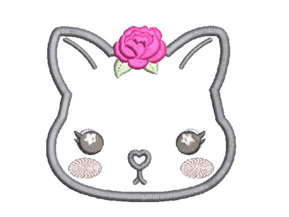Cara's Embor Cat Flower Applique Baby Animals Embroidery Design By carasembor
