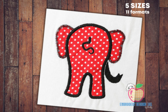 Cartoon Elephant Showing Tail Wild Animals Embroidery Design By embroiderydesigns101