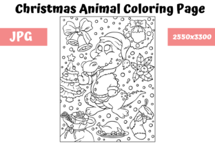 Print on Demand: Christmas Animal Coloring Page 10 Graphic Coloring Pages & Books Kids By MyBeautifulFiles