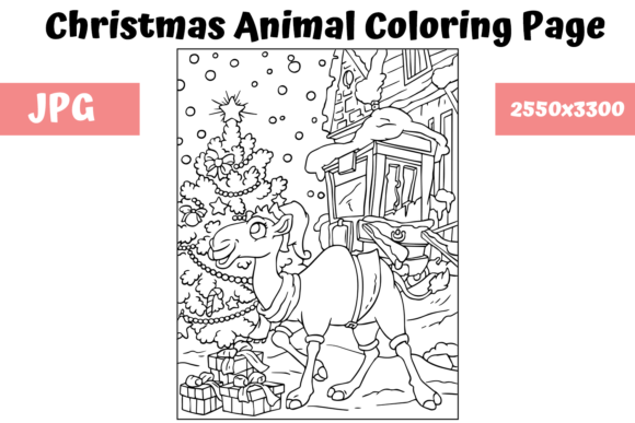 Print on Demand: Christmas Animal Coloring Page 11 Graphic Coloring Pages & Books Kids By MyBeautifulFiles