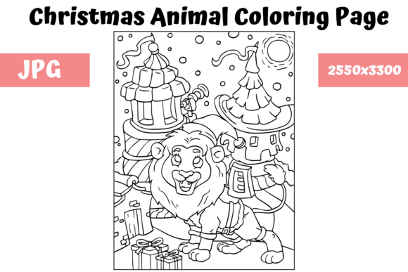 Print on Demand: Christmas Animal Coloring Page 16 Graphic Coloring Pages & Books Kids By MyBeautifulFiles