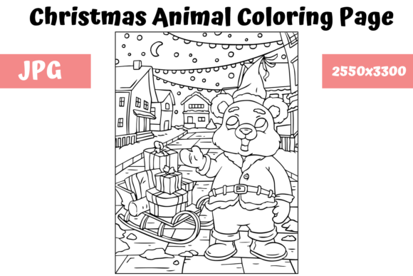 Print on Demand: Christmas Animal Coloring Page 17 Graphic Coloring Pages & Books Kids By MyBeautifulFiles