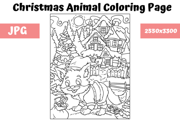 Print on Demand: Christmas Animal Coloring Page 18 Graphic Coloring Pages & Books Kids By MyBeautifulFiles
