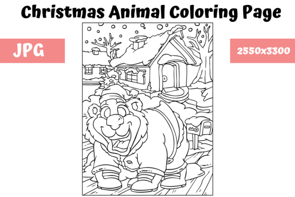 Print on Demand: Christmas Animal Coloring Page 19 Graphic Coloring Pages & Books Kids By MyBeautifulFiles