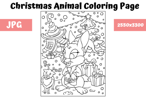 Print on Demand: Christmas Animal Coloring Page 2 Graphic Coloring Pages & Books Kids By MyBeautifulFiles