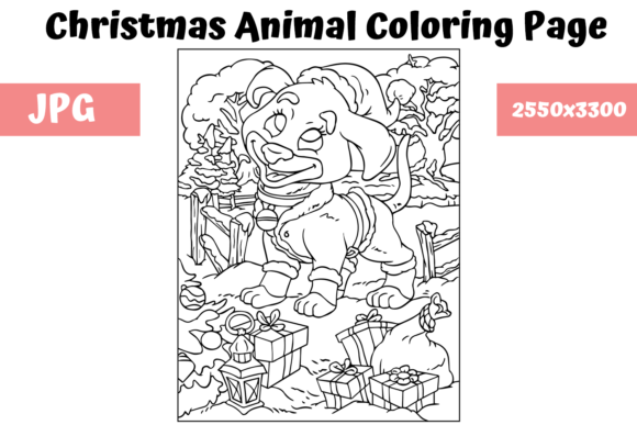 Print on Demand: Christmas Animal Coloring Page 20 Graphic Coloring Pages & Books Kids By MyBeautifulFiles