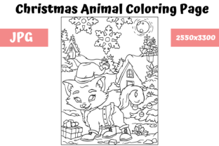 Print on Demand: Christmas Animal Coloring Page 3 Graphic Coloring Pages & Books Kids By MyBeautifulFiles