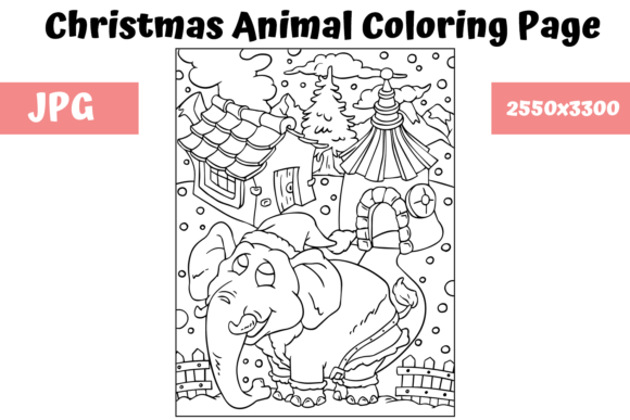 Print on Demand: Christmas Animal Coloring Page 4 Graphic Coloring Pages & Books Kids By MyBeautifulFiles