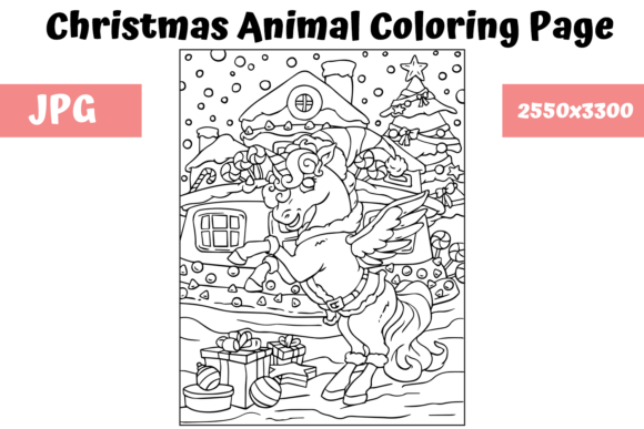 Print on Demand: Christmas Animal Coloring Page 5 Graphic Coloring Pages & Books Kids By MyBeautifulFiles