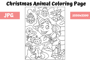 Print on Demand: Christmas Animal Coloring Page 6 Graphic Coloring Pages & Books Kids By MyBeautifulFiles
