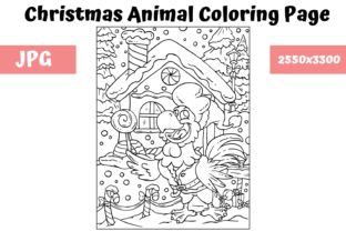 Print on Demand: Christmas Animal Coloring Page 7 Graphic Coloring Pages & Books Kids By MyBeautifulFiles