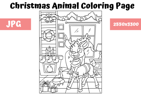 Print on Demand: Christmas Animal Coloring Page 8 Graphic Coloring Pages & Books Kids By MyBeautifulFiles