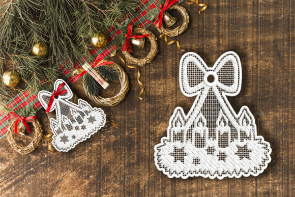 Christmas Candles FSL Decoration Embroidery