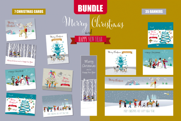 Christmas Cards and Banners Bundle Graphic Illustrations By artica
