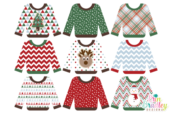 Print on Demand: Christmas Clipart - Ugly Sweater Party Graphic Illustrations By Erin Bradley Designs