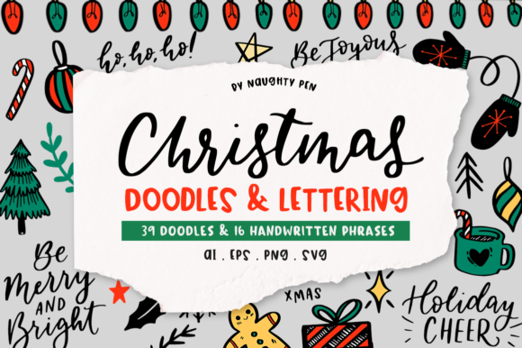 Christmas Doodles & Lettering Set Graphic Illustrations By Naughty Pen