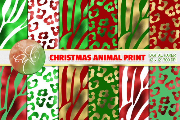 Christmas Foil Zebra and Leopard Paper Graphic Backgrounds By paperart.bymc
